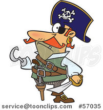 Cartoon Pirate Captain with a Peg Leg and Hook Hand by Ron Leishman
