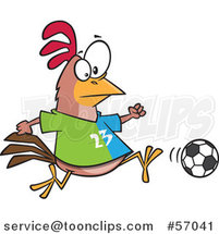 Cartoon Chicken Playing Soccer by Ron Leishman