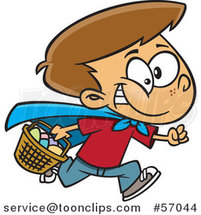 Cartoon Brunette White Boy Wearing a Cape and Running at an Easter Egg Hunt by Toonaday