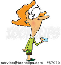 Cartoon Red Haired White Lady Making a Purchase with a Credit or Debit Card by Ron Leishman
