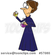 Cartoon Brunette White Female Chemist, Marie Curie, Holding Science Flasks by Ron Leishman