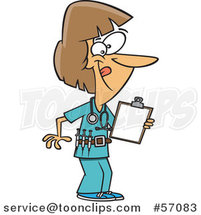 Cartoon Energetic White Female Nurse Holding a Medical Chart on a Clipboard and Wearing a Vaccine Belt by Ron Leishman
