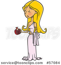 Cartoon Greek Goddess, Persephone, Holding a Pomegranate by Ron Leishman
