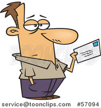 Cartoon Unhappy White Guy Mailing a Letter or Tax Payment by Ron Leishman