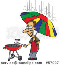 Cartoon Dedicated White Guy Holding an Umbrella Nd Flipping a Burger on a Bbq Grill in the Rain by Ron Leishman