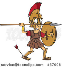 Cartoon Greek God, Achilles, with an Arrow in His Heel by Ron Leishman