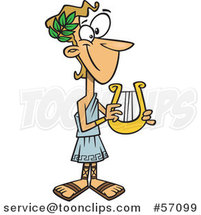Cartoon Greek God, Apollo, Holding a Lyre by Toonaday