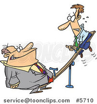 Cartoon Heavyweight Business Man on a See Saw by Ron Leishman