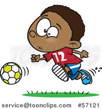 Cartoon Black Boy Playing Soccer by Ron Leishman