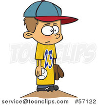 Cartoon White Boy Wearing a Big Jersey and Standing on Baseball Pitchers Mound by Ron Leishman