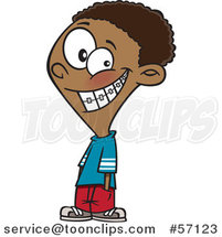 Cartoon Black Boy Grinning and Showing His Braces by Ron Leishman