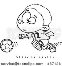 Cartoon Outline Black Boy Playing Soccer by Ron Leishman