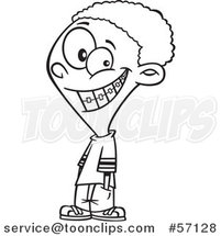 Cartoon Outline Black Boy Grinning and Showing His Braces by Ron Leishman