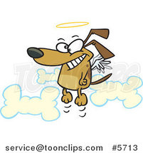 Cartoon Angel Dog in Heaven by Ron Leishman