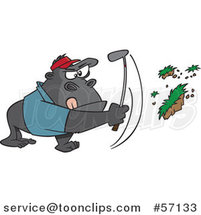 Cartoon Gorilla Golfer Swinging and Pulling up Grass by Ron Leishman