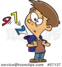 Cartoon School Boy Watching Numbers Escape from His Backpack by Toonaday