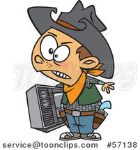 Cartoon Young Cowboy Carrying a Tv by Toonaday