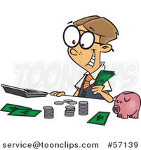 Cartoon Young White Accountant Boy Counting Money by a Piggy Bank by Ron Leishman