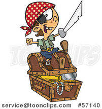 Cartoon Pirate Boy Holding a Sword and Sitting on a Treasure Chest by Toonaday