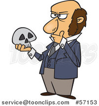 Cartoon Guy, Charles Darwin, Holding a Skull and Thinking by Toonaday