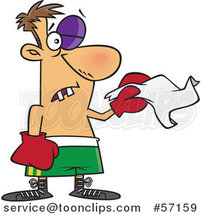 Cartoon White Boxer with Missing Teeth and a Black Eye, Throwing in the Towel by Ron Leishman