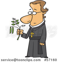 Cartoon Friar Guy, Gregor Mendel, Holding a Pea Plant by Toonaday
