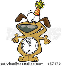 Cartoon Party Dog with a Count down Clock Body by Toonaday