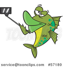 Cartoon Green Fish Taking a Portrait with a Selfie Stick by Ron Leishman