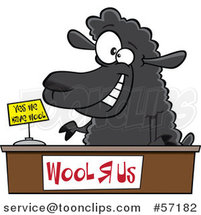Cartoon Black Sheeppreneur Selling Wool by Toonaday