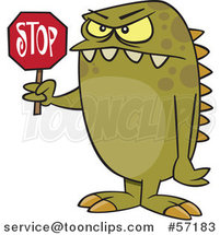 Cartoon Monster Holding a Stop Sign by Toonaday