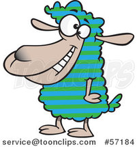 Cartoon Sheep with Striped Wool by Ron Leishman