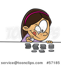 Cartoon Brunette White Girl Counting Her Money by Toonaday
