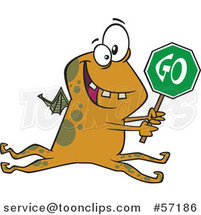 Cartoon Monster Holding a Go Sign by Toonaday