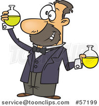 Cartoon White Guy, Louis Pasteur, Conducting a Chemistry Experiment by Ron Leishman