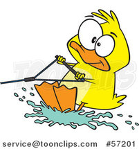 Cartoon Duck Water Skiing by Ron Leishman