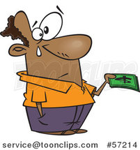 Cartoon Black Guy Crying and Parting with His Last Dollar Bills by Toonaday