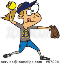 Cartoon White Girl Throwing a Softball by Ron Leishman