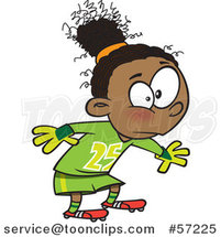 Cartoon African Girl Soccer Goal Keeper by Ron Leishman