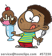 Cartoon Black Boy Holding a Big Ice Cream Sundae by Ron Leishman