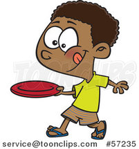 Cartoon African Boy Throwing a Frisbee by Ron Leishman