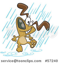 Cartoon Dog Dancing in the Rain by Ron Leishman