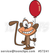 Cartoon Birthday Monkey Holding a Party Balloon by Ron Leishman
