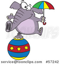 Cartoon Circus Elephant Holding an Umbrella and Balancing on a Ball by Ron Leishman