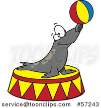 Cartoon Circus Seal Balancing a Ball on His Nose by Ron Leishman