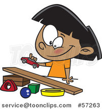 Cartoon Indian Girl Playing with a Toy Car and Ramp by Ron Leishman