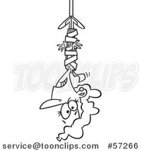 Cartoon Outline Businesswoman Hanging from Red Tape by Ron Leishman