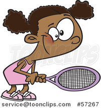 Cartoon Black Girl Playing Tennis by Ron Leishman