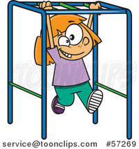 Cartoon White School Girl Playing on Playground Monkey Bars by Ron Leishman