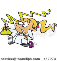 Cartoon White School Girl Running with a Dangerous Mix in Science Class by Ron Leishman
