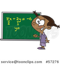 Cartoon Smart Black School Girl Solfing a Math Equation on a Chalk Board by Ron Leishman